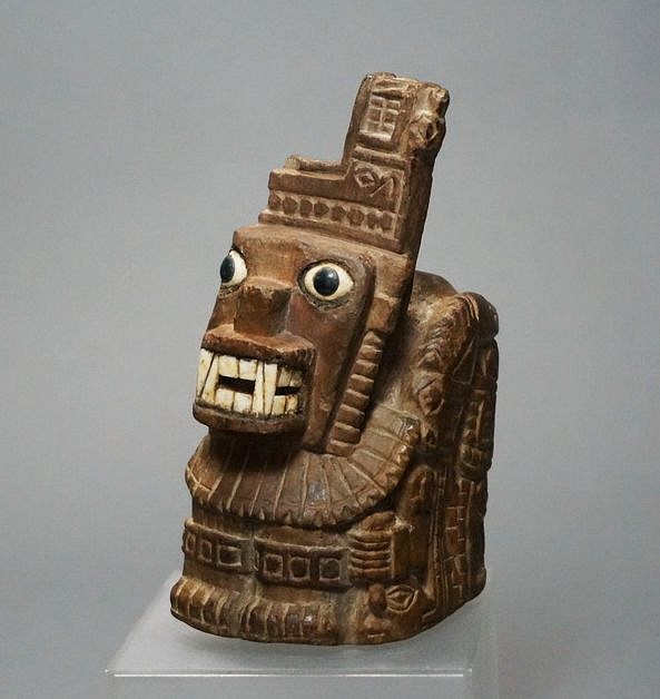 Art Sculptures Vintage Peruvian Wood Mask W/ Intricate Carving