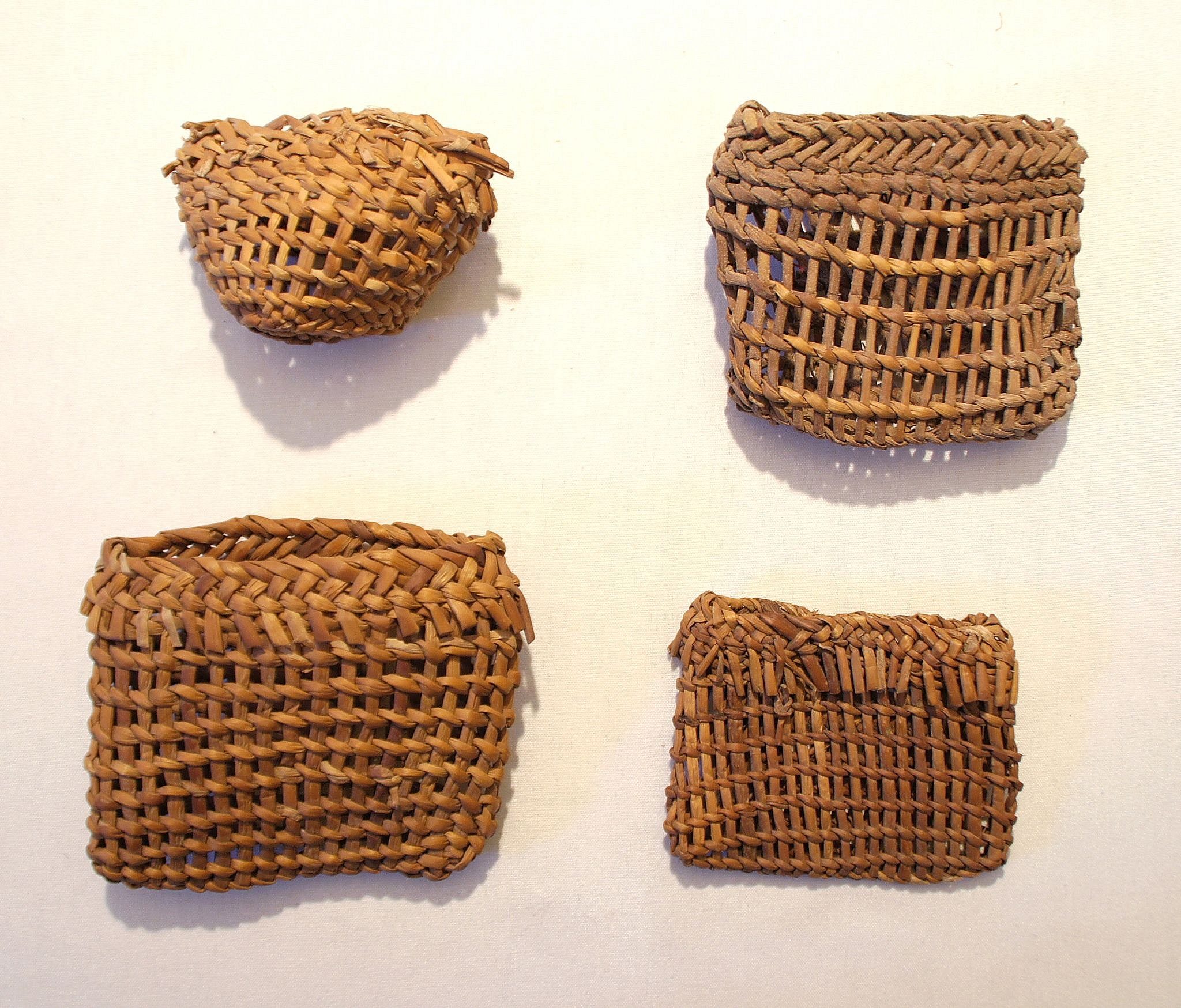 Chile, Eight Twined Baskets For Fishing Line and Hooks Wood