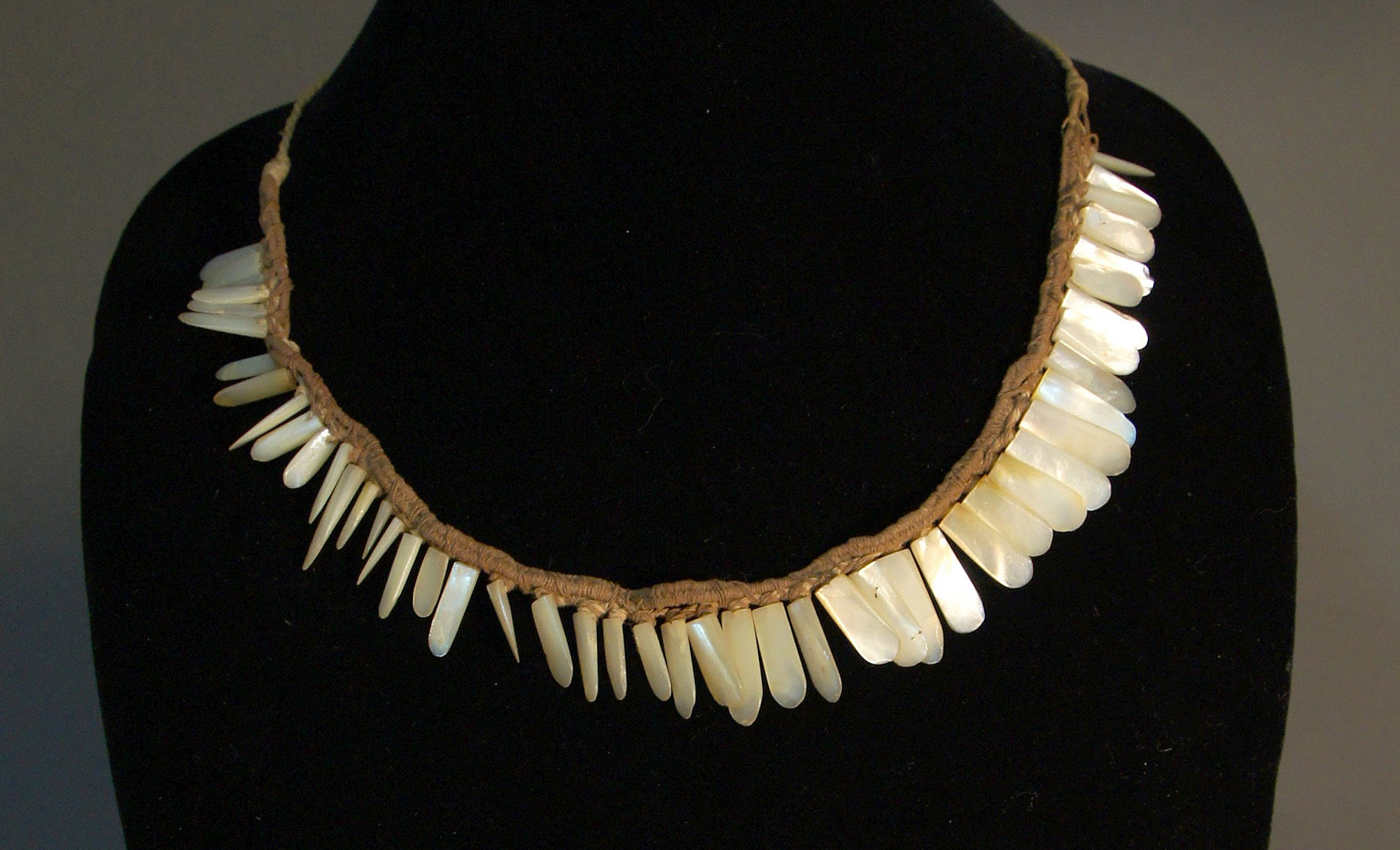 Peru, Chimú Necklace of Mother of Pearl on Original Cotton Line