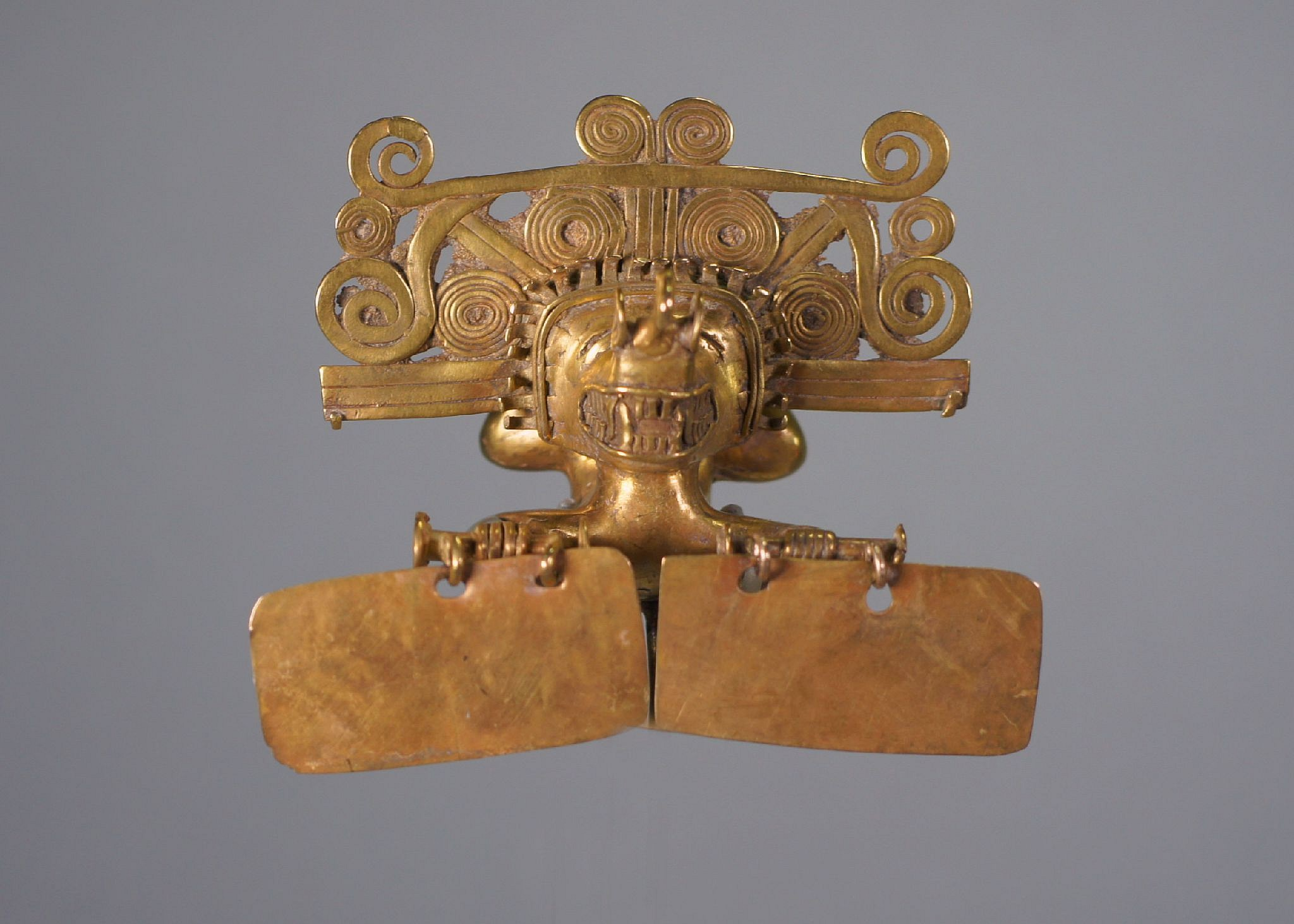 Colombia, Quimbaya Style Gold Pendant of a Tumbling Shaman with Two Rectangular Dangles Metal