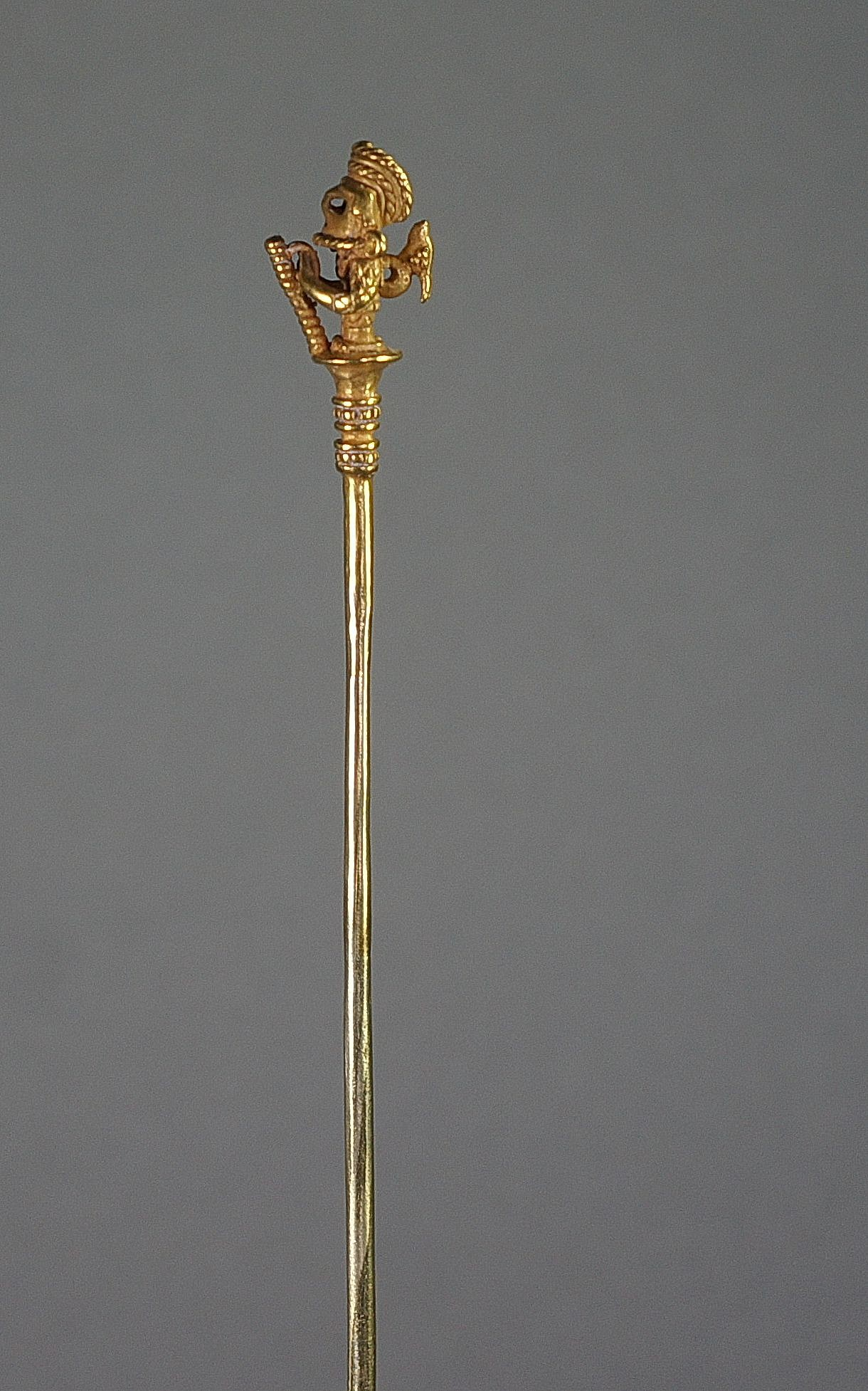 Colombia, Calima Cast Gold Lime Dipper of a Warrior with Animal Perched on Back Metal