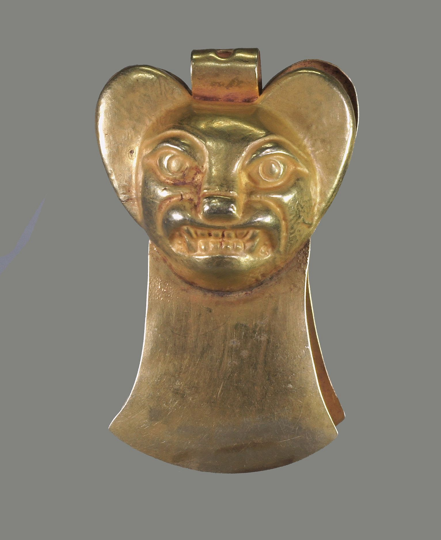 Peru, Moche Gold Tweezers With Embossed Large Eared Bat Face Metal
