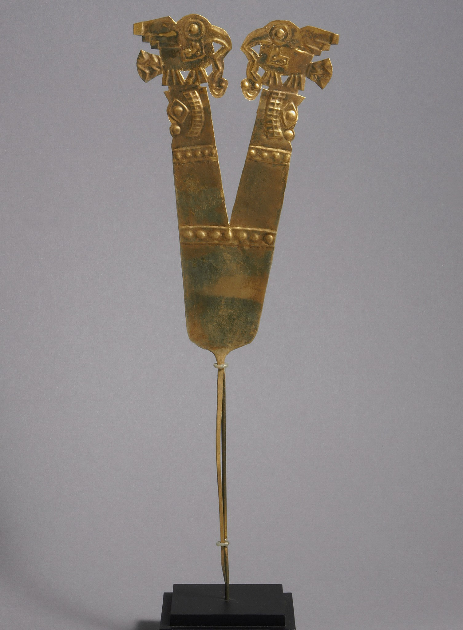 Peru, Wari Double-headed Gold Plume with Embossed and Cutout Decoration Metal