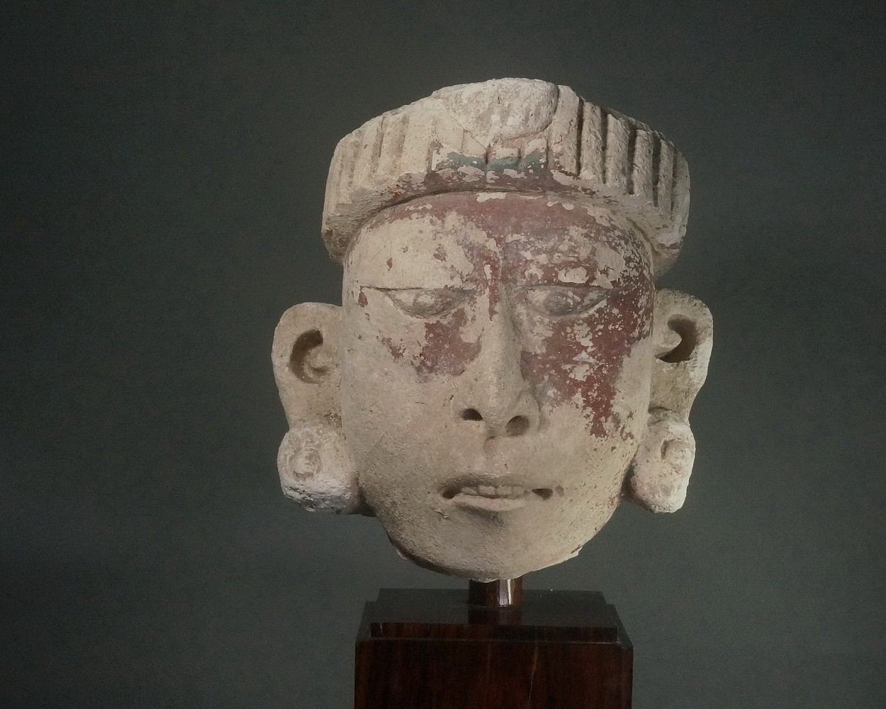 Mexico, Early Post-Classic Mayan Stucco Head Depicting a Priest Stone