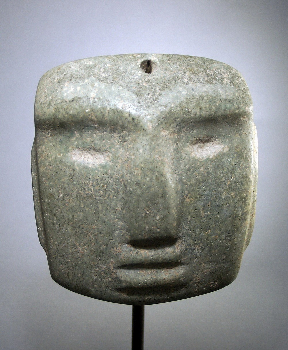 Mexico, Chontal Green Stone Mask with eyebrows Stone